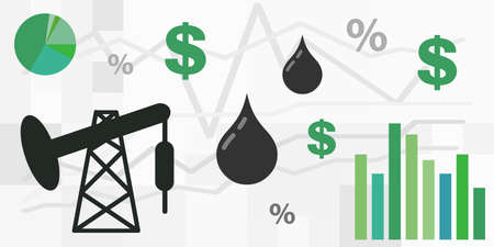 vector illustration of fuel and oil market prices trends analysis and statistics