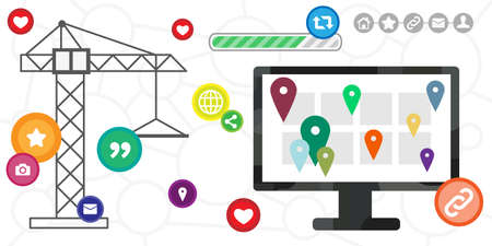vector illustration of building crane and computer screen for online presence concept