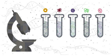 vector illustration of microscopic investigation of viruses and bacteria microorganisms types in flasks 矢量图像