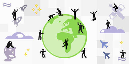 vector illustration of planet and people action around the globe and in the space around earth 矢量图像