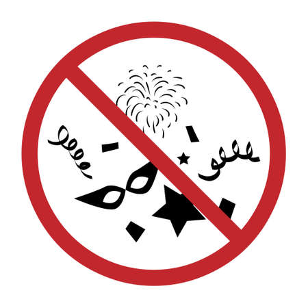 vector illustration of party symbols in restriction circle for cancelling events visual 矢量图像