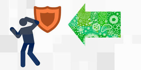 vector illustration of isolated person with shield and virus attack