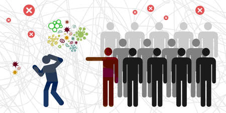 vector illustration of crowd people bullying and mocking infected person