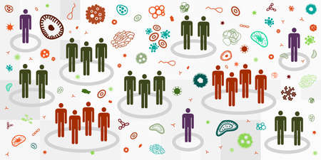 vector illustration of groups of people and viruses for contamination or herd immunity visual 矢量图像