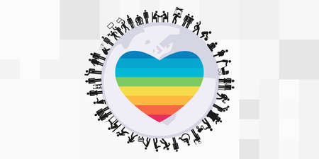 vector illustration of people planet and rainow heart for LGBT community support worldwide