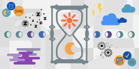 vector illustration of hourglass clock with sun and moon symbols for circadian rhythms visuals