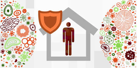 vector illustration of isolated in home person for quarantine and work from home visual