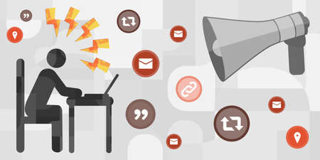 vector icons of person reading online news and stressing out for informational intoxication concept
