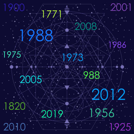 vector illustration of years and dates for numerology and big historical events visuals