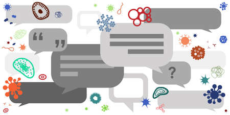 vector illustration of comments messages and virus for viral news and talks about illness