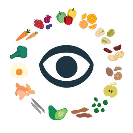 vector illustration of superfoods and nutritional components for healthy eyes