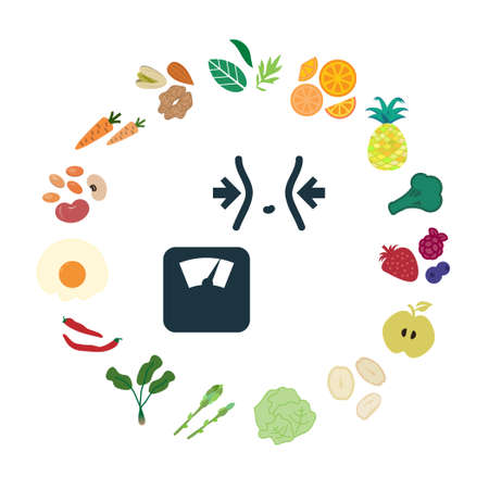 vector illustration of weight loss foods for diet and fight against obesity products