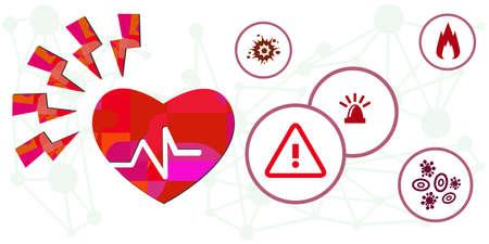vector illustration for heart disease problem and stress factors 矢量图像