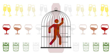 vector illustration of man in cage and alcoholic drinks for alcoholism disease visual