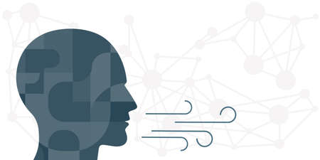 vector illustration for human head and breathing process with air symbol