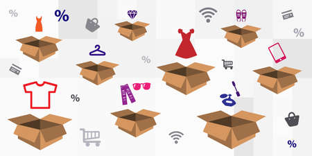 vector illustration for carton box and clothes accessories for delivery management service visuals