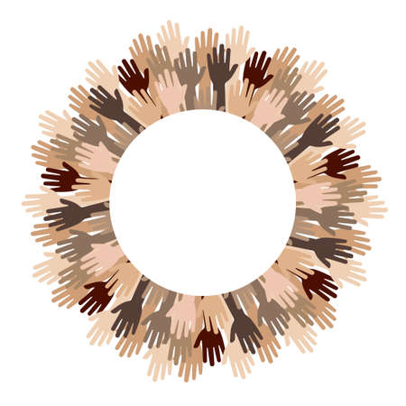 vector illustration of different skin color hands in circle for international cooperation and tolerance concept