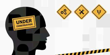 vector illustration of human head under construction symbol for personal renovation and transformation