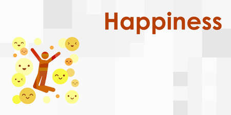 vector illustration of person with happiness emotion expression body pose and emoji Vectores