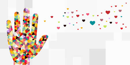 vector illustration of one colorful hand and heart likes icons for social media appreciation and need for love visual Vectores