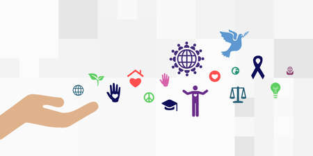 vector illustration of hand and charity symbols for civil society and human rights visuals