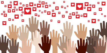 vector illustration of many hands and heart likes icons for social media appreciation and need for love visual