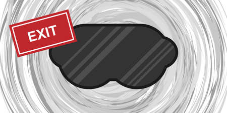 vector illustration of virtual reality mask and exit banner for VR addiction banner