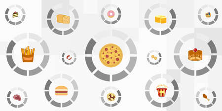 vector illustration for food delivery service with loading bars for online orders of meals visual Vectores