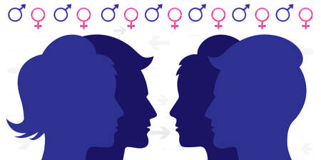 vector illustration of man and woman faces overlap for gender roles and relationship concept