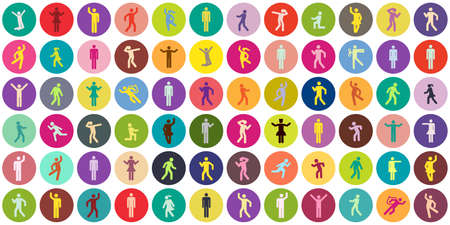 vector illustration of colorful pattern ith circles and people silhouettes for social media and team building
