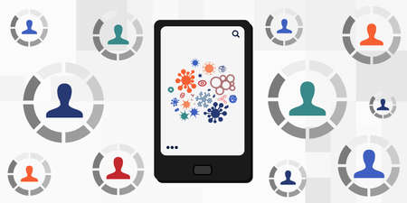 vector illustration of mobile phone and people profiles symbols for distant diagnostics and telemedicine