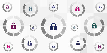 vector illustration of round loading bars and padlocks for lockdown and security concept Vectores
