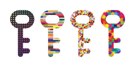 vector illustration of keys with abstract patterns for problem solving skills visuals Vectores