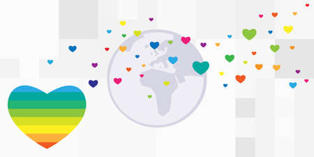 vector illustration of planet and rainbow heart for global LGBT community support worldwide