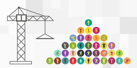 vector illustration of building crane pyramid with people symbols for building team visuals