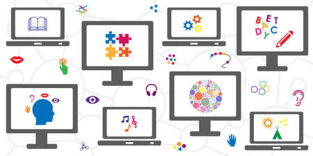 vector illustration of screens and educational materials visuals for online school concept