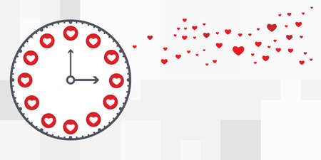 vector illustration of clock and social media symbols hearts and likes Vectores