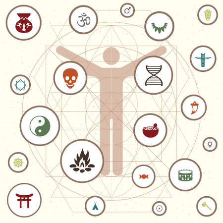 vector illustration of human being and different symbols for anthropology science visual