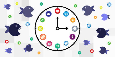 vector illustration of hungry fishes and clock social media icons for time management concept Vectores