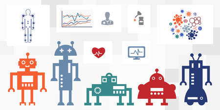 vector illustration of hospital with robot staff and medical chatbot options