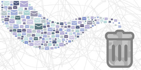 vector illustration of mails and dustbin for spam letters and useless newsletters visuals