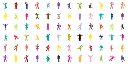 vector illustration of colorful pattern with people silhouettes for social media and team building backgrounds Vectores