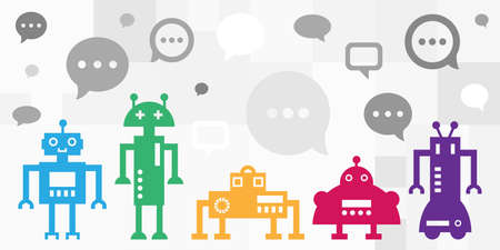 vector illustration of robots and comments for artificial intelligence and chatbot options