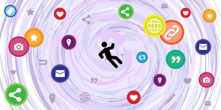 vector illustration of man falling and social media symbols for internet addiction visual Vetores