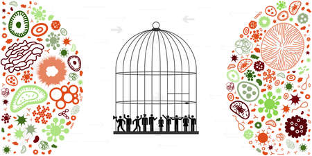 vector illustration of people in cage with virus symbols for quarantine and isolation allegory