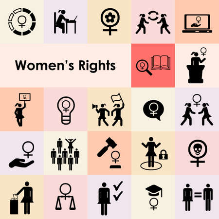 vector icons set for women rights and feminist issues icons set and emblems