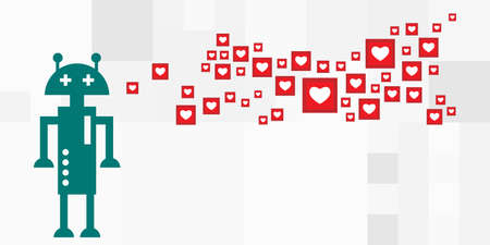vector illustration of robot and heart symbols for social media chatbots and automated likes systems