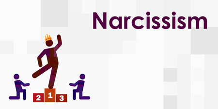 vector illustration of narcissistic person in social environment and typed name of personality disorder
