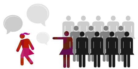 vector illustration of female group blaming girl for feminist and women rights problem visuals Vectores