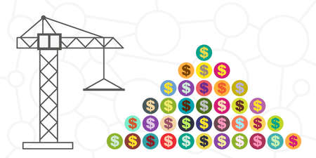 vector illustration of building crane pyramid with money symbols for building business visuals